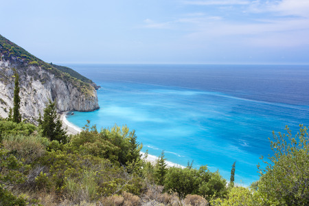 Turquoise waters of Milos Beach at Lefkada Island, Greece, located at the Ionian Sea