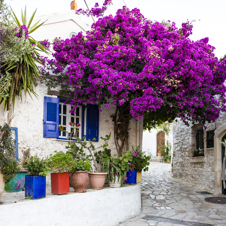 Street view of Afionas at Corfu Island of Greece.