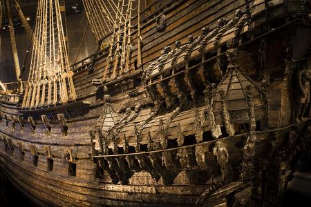 Buque naval Vasa que zozobró y se hundió en Estocolmo en 1628
