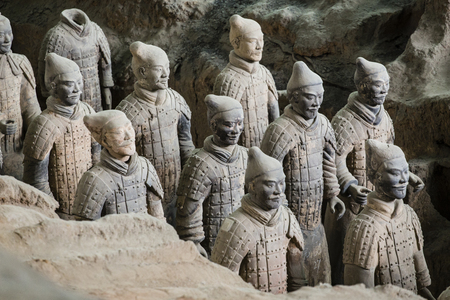 Lintong, Xian, ShaanxiChina- October 15 2014: Chinas famous Terracotta Warriors. The Terracotta Army is the collection of sculptures depicting the armies of Qin Shi Huang, the first Emperor of China at his tomb.