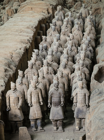 Lintong, Xian, ShaanxiChina- October 15 2014: Chinas famous Terracotta Warriors. The Terracotta Army is the collection of sculptures depicting the armies of Qin Shi Huang, the first Emperor of Chin