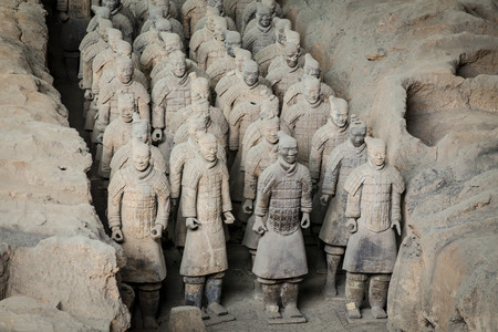 Lintong, Xi'an, Shaanxi/China- October 15 2014: China's famous Terracotta Warriors. The Terracotta Army is the collection of sculptures depicting the armies of Qin Shi Huang, the first Emperor of China at his tomb.