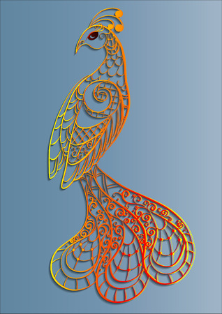 Yellow-red openwork silhouette of a magic peacock bird Illustration
