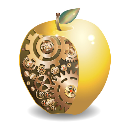 Metal Apple in the slit stuffed with gear. illustration in steampunk style.
