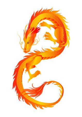 Figura di un drago cinese dorato che si contorce