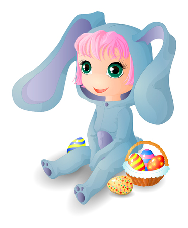Chibi girl dressed as a hare and with a basket of Easter eggs