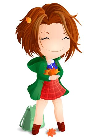 Girl Chibi in a green coat with an armful of orange maple leaves in his hands. Vector illustration. Ilustracja