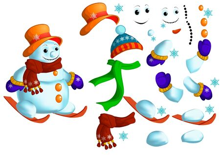 Set of parts to create a snowman. Vector illustration.