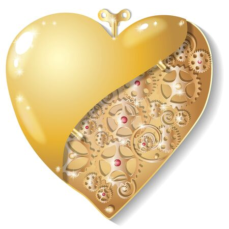 Wind-up mechanical trinket in the form of a hollow gold heart. Vector illustration.