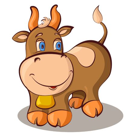 Cute cartoon cow. Vector illustration.