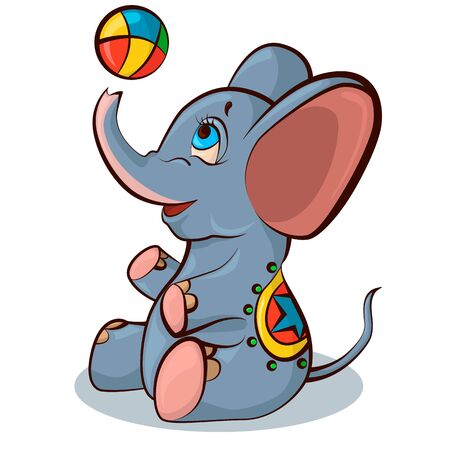 An elephant in a colored blanket plays with a ball. Vector illustration.
