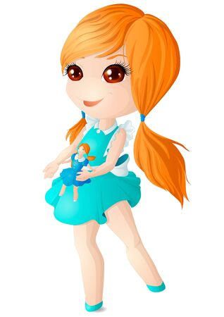 A red-haired girl in a blue dress is playing with a doll. Vector illustration. 矢量图像