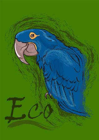 Blue macaw parrot on a green background with an inscription. Vector illustration.