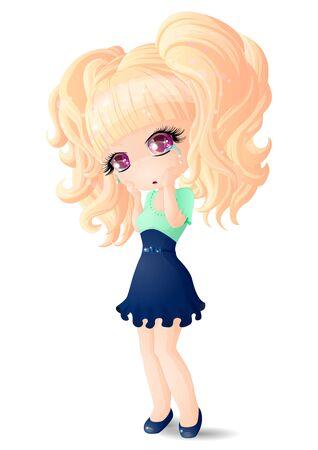 A tearful girl in a blue dress. Vector illustration.