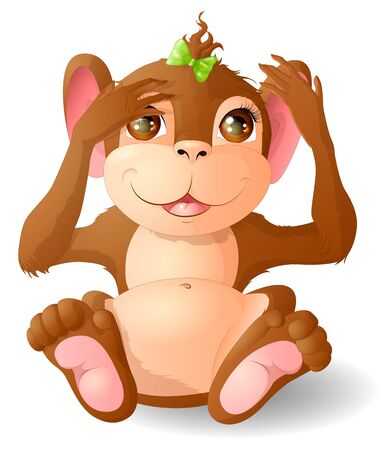 A little monkey is playing blind man's buff. Vector illustration. Illustration