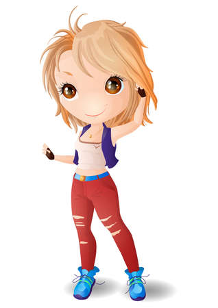 A blonde Chibi girl in red jeans and blue sneakers. 矢量图像