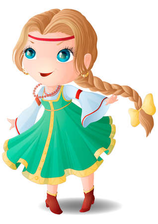 Chibi girl in a Russian sundress and a white shirt with wide sleeves.