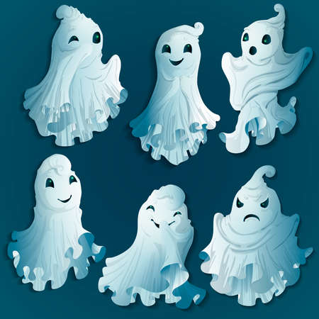 A set of isolated drawings on a gray background. Halloween ghosts. Vector.