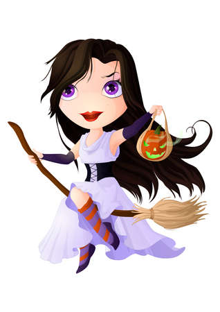 Chibi girl dressed as a witch with a pumpkin in her hands flying on a broom.