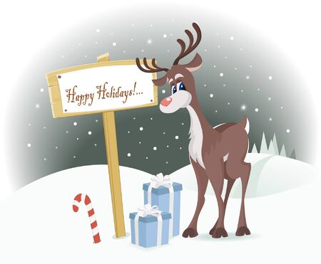 Rudolph reindeer with Christmas gifts near Happy Holidays sign Vector