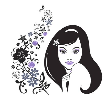 Young girl with flower decorative pattern Vector