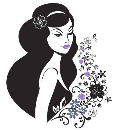 Hermosa mujer con un patr�n decorativo floral Foto de archivo - 11764389