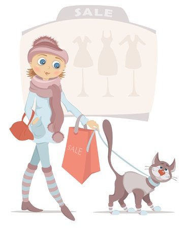 Beautiful young girl with red shopping bag and smiling cat on sale Vector
