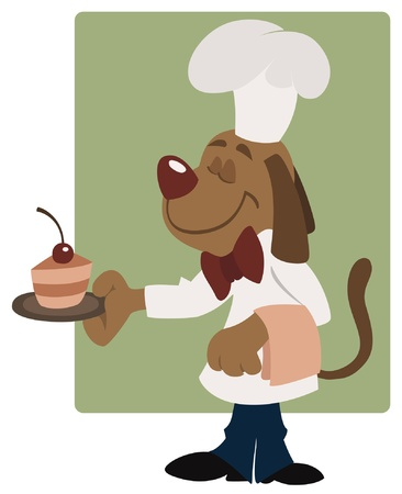chef clipart: Elegant waiter dog in the cafe