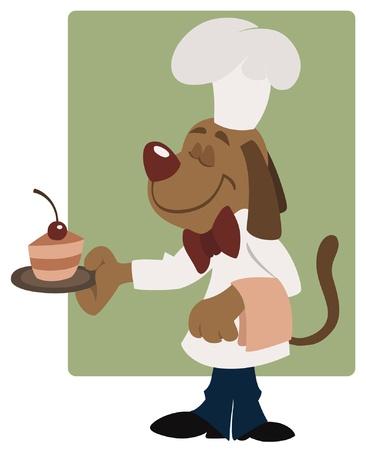 Elegant waiter dog in the cafe