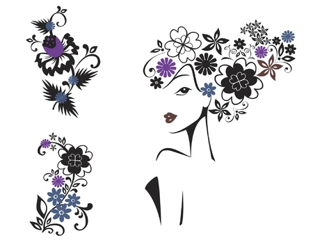 Elegant woman with flower head and floral decorative patterns