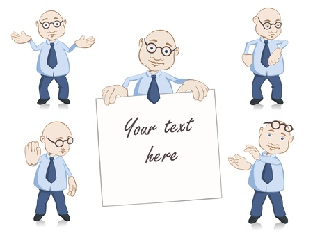 acclamation: Vector illustration of business man poses set such as stop, time control, acclamation, clipboard and no idea Illustration