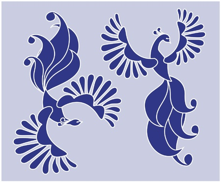 bluebird: Vector illustration of a couple of flying fairy birds. Base drawing Illustration