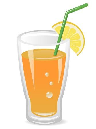 orange juice glass: Illustrazione vettoriale di succo di frutta con una fetta di limone e cannuccia Vettoriali