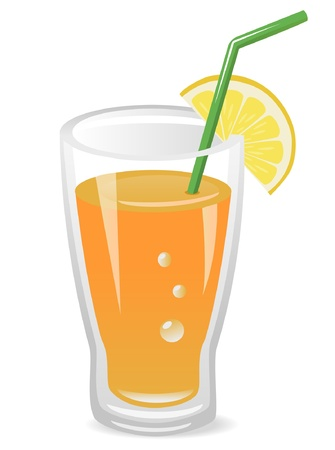 jus orange glazen: Vector illustratie van fruit drank met schijfje citroen en rietje
