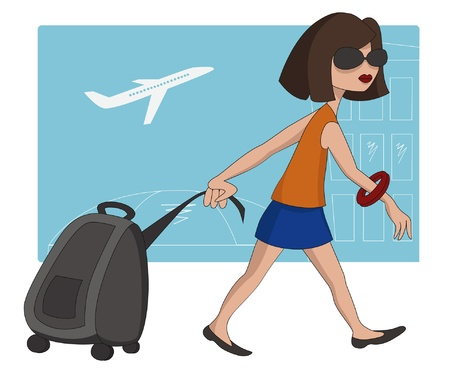 travel cartoon: Vector illustration of travel girl at the airport