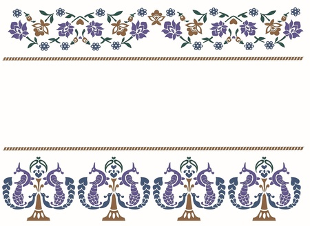 Vector illustration of floral patterns with birds in Indian style Stock Vector - 11854295