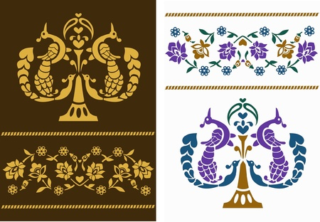 Vector illustration of flower patterns with birds in Indian style Vector