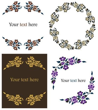 Vector illustration of decorative floral frames set. Font used: Footlight MT Light Stock Vector - 11854299