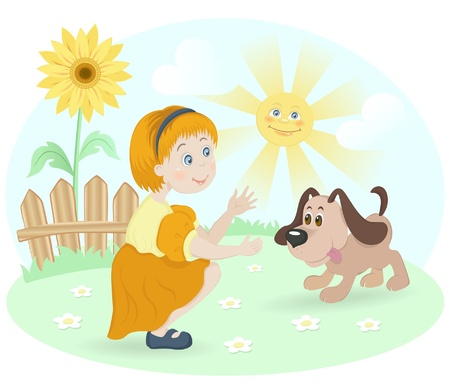 dogs playing: Vector illustration of little girl with dog puppy on green lawn with sunflower