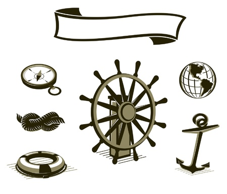 Sea icons set in brown color. Easy to edit Vector