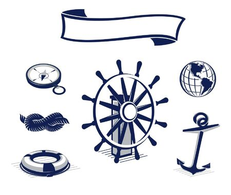 moorings: Sailing design elements in blue color. Easy to edit Illustration
