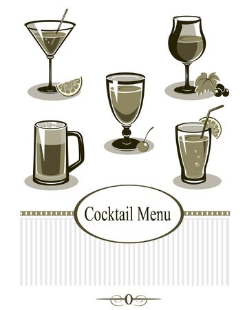 lime juice: Cocktail Icons Set