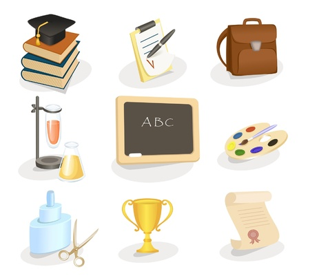 School and education icon set Stock Vector - 11996356