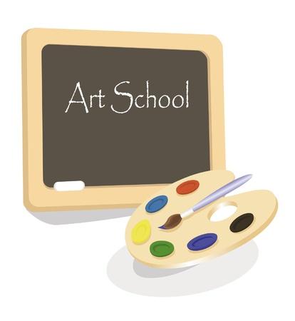 preschool teacher: Art school emblem with palette