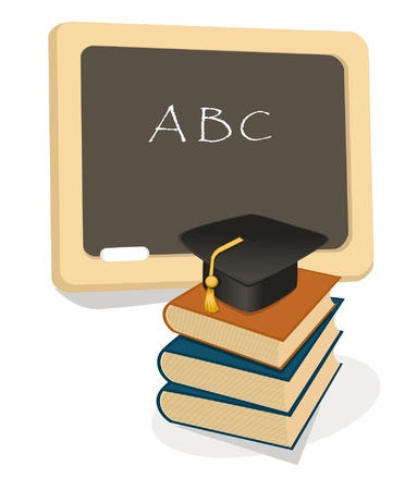 preschool teacher: Education emblem with books and mortar board