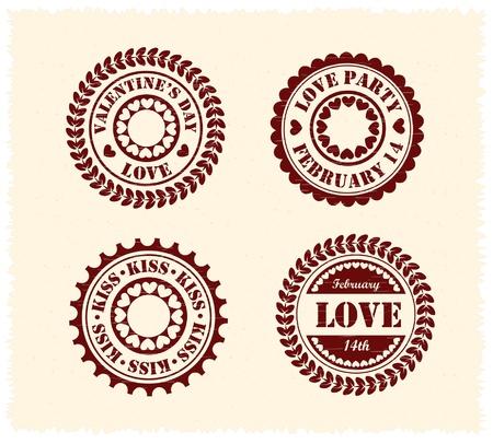 Valentine day stamps on vintage paper
