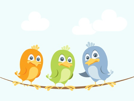 three animals: Three colorful birds chatting on a wire