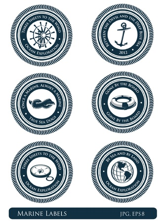 moorings: Nautical vintage labels with marine slogans Illustration