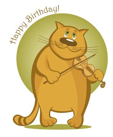 cat toy: Greeting card with smiling cat playing the violin