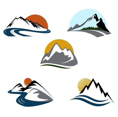 snow mountains: Mountains emblem set